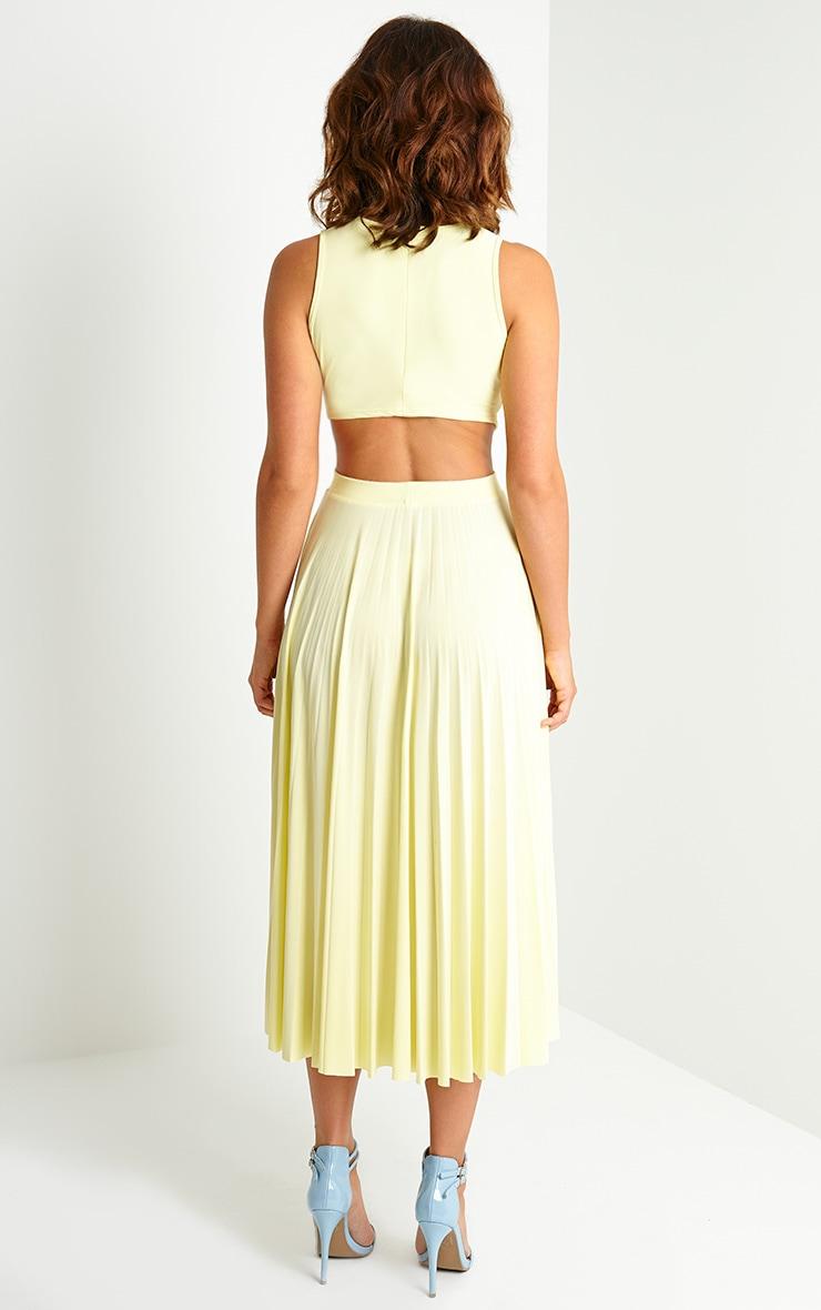 Ebony Lemon Cut Out Pleated Midi Dress 2