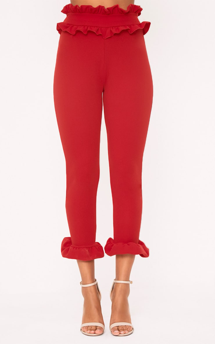 Red Frill Trim Trousers 2