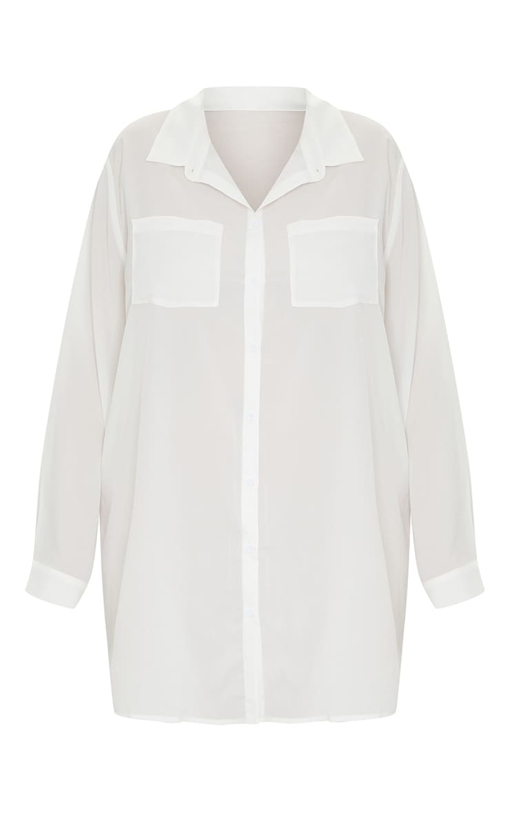 Plus White Plain Shirt Dress 5