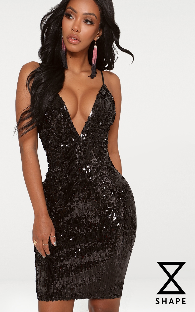 Shape Black Sequin Plunge Bodycon Dress 1