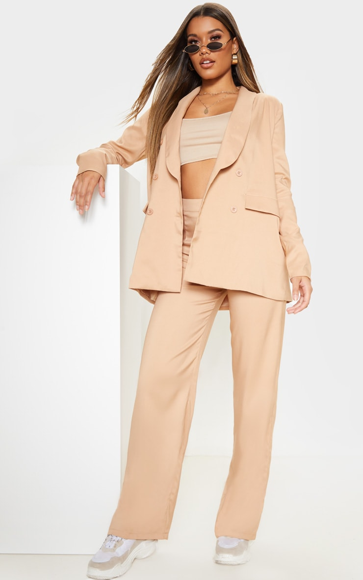 Beige Oversized Triple Breasted Woven Boyfriend Blazer