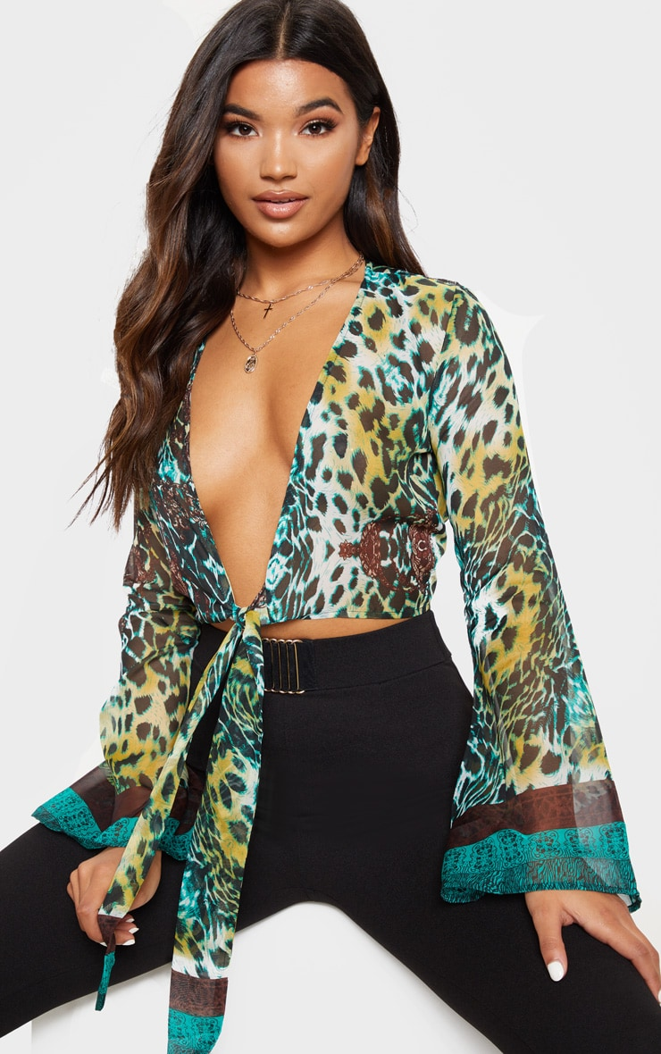 Arleena Green Sheer Print Knot Front Flare Sleeve Blouse 1
