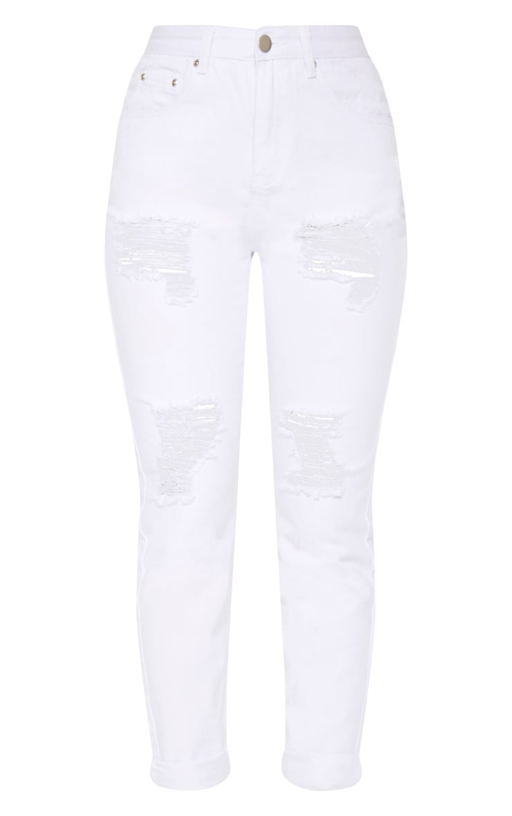 White Extreme Ripped Turn Up Mom Jean 4