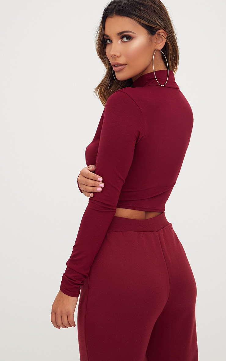 Burgundy Jersey Open Front Longsleeve Crop Top 2