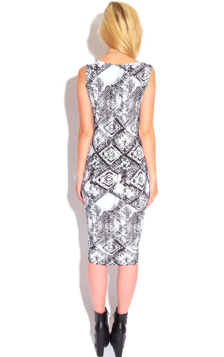 Trisha Monochrome Tile Print Sleeveless Midi Dress 2