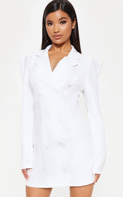 bca4b66ae21810 White Button Long Sleeve Blazer Dress