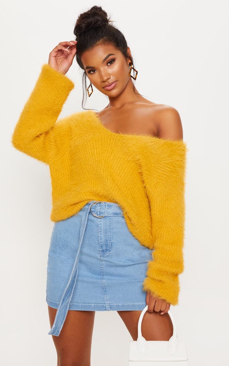 Mustard Eyelash Knitted Sweater 1