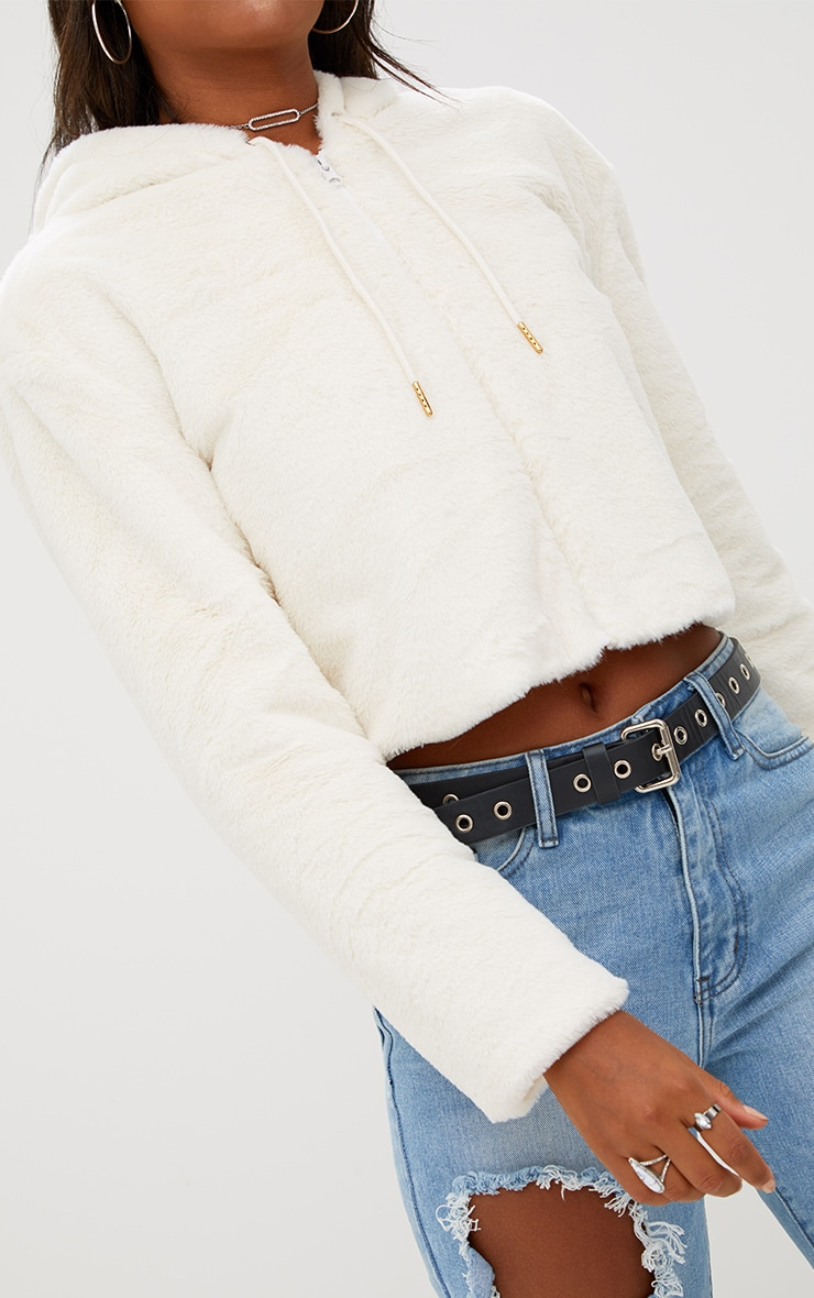 Cream Cropped  Faux Fur Jacket With Hood 4
