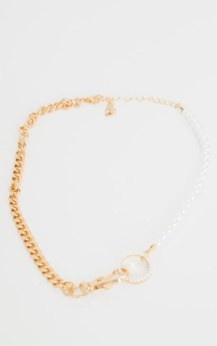 Gold Mixed Chain With Pearl Necklace 3
