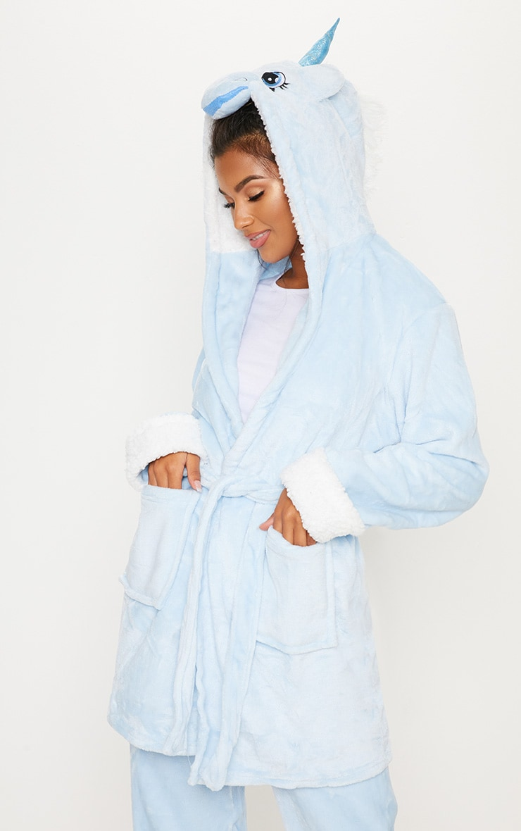 Pale Blue Unicorn 3D Hooded Robe
