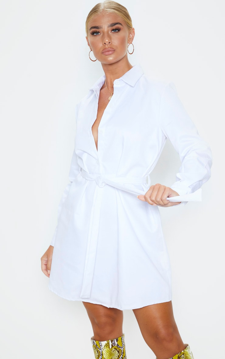 White Pleated Shirt Dress 1
