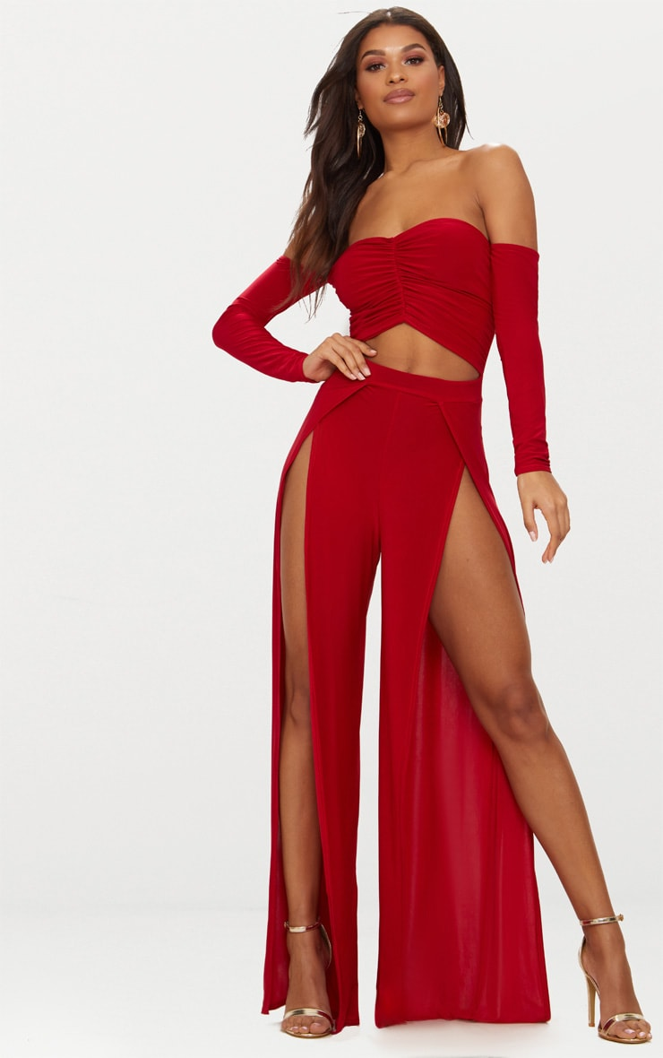 Red Slinky Ruch Front Split Leg Jumpsuit