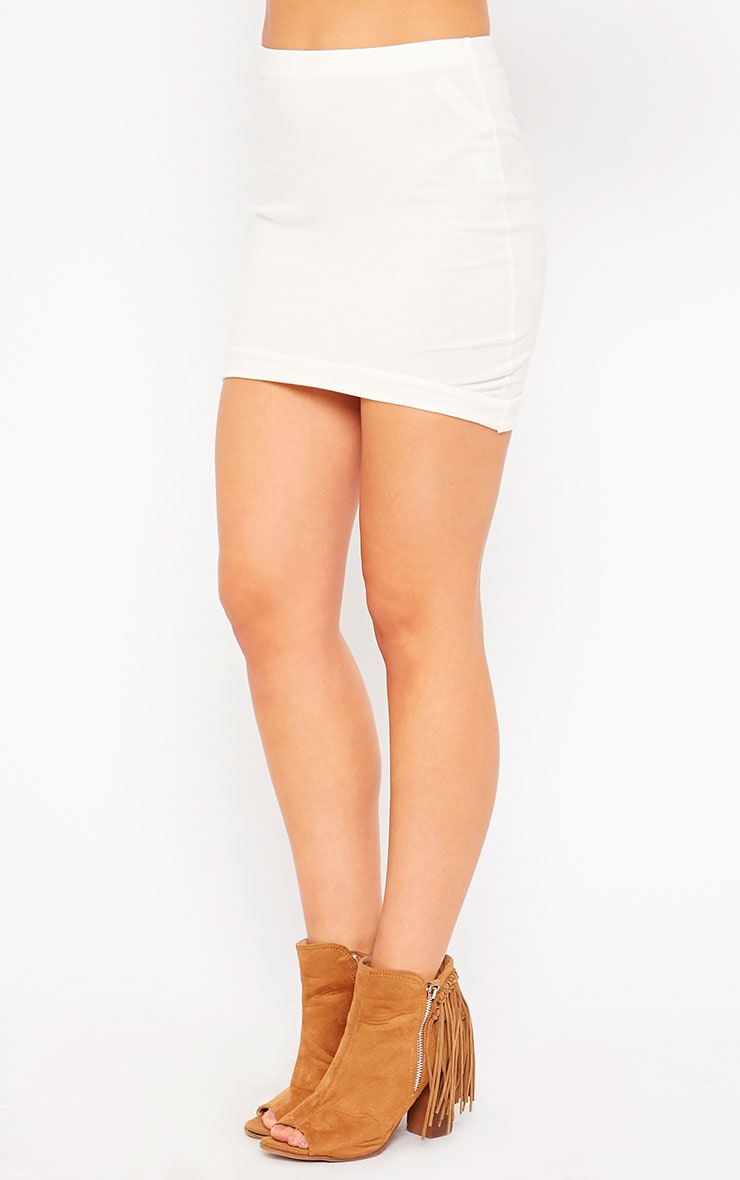 Phoenix Cream Curved Hem Mini Skirt 3