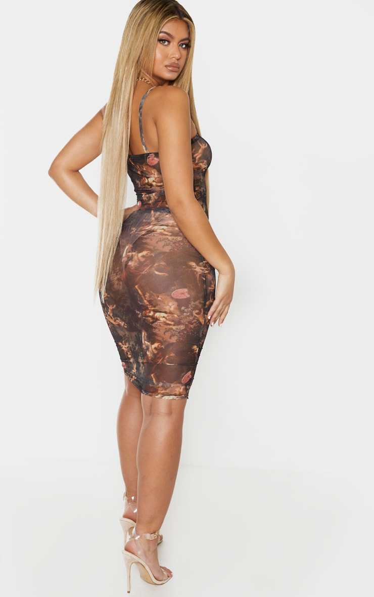 Multi Renaissance Print Mesh Ruched Strappy Bodycon Dress 2