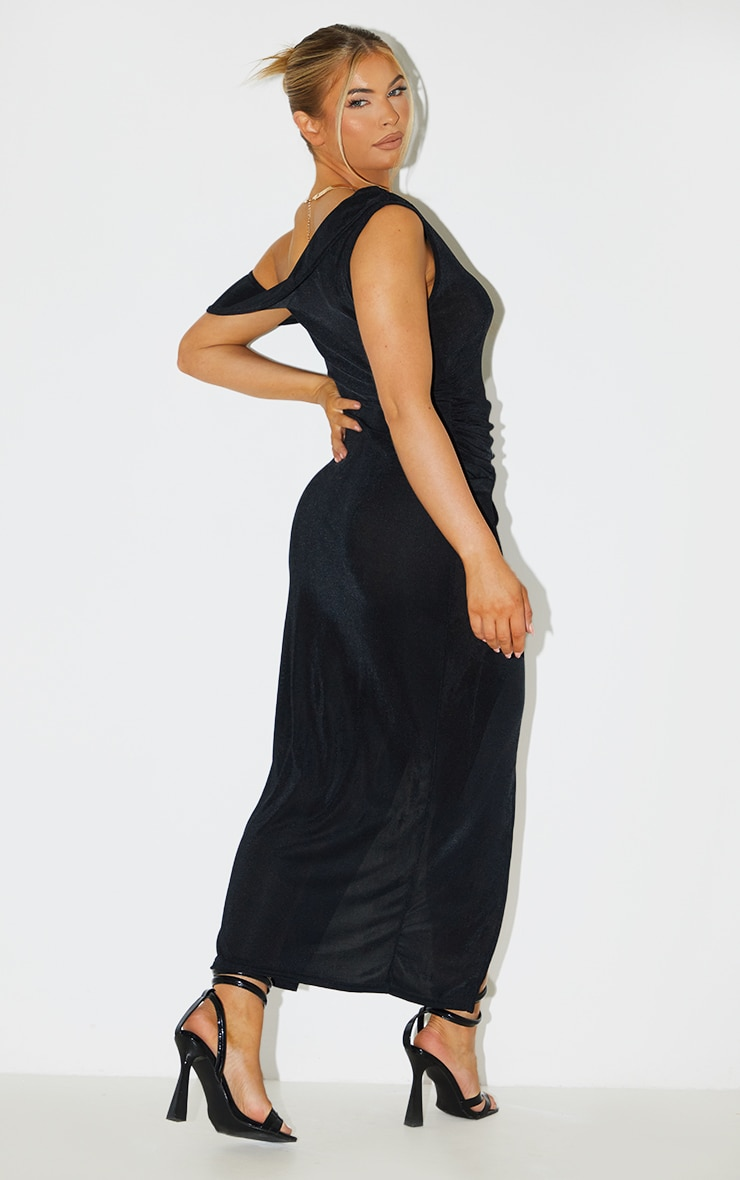 Black Recycled Textured Slinky Off Shoulder Midaxi Dress 2