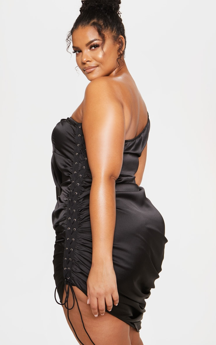 Black Satin Lace Up Side One Shoulder Midi Dress 3