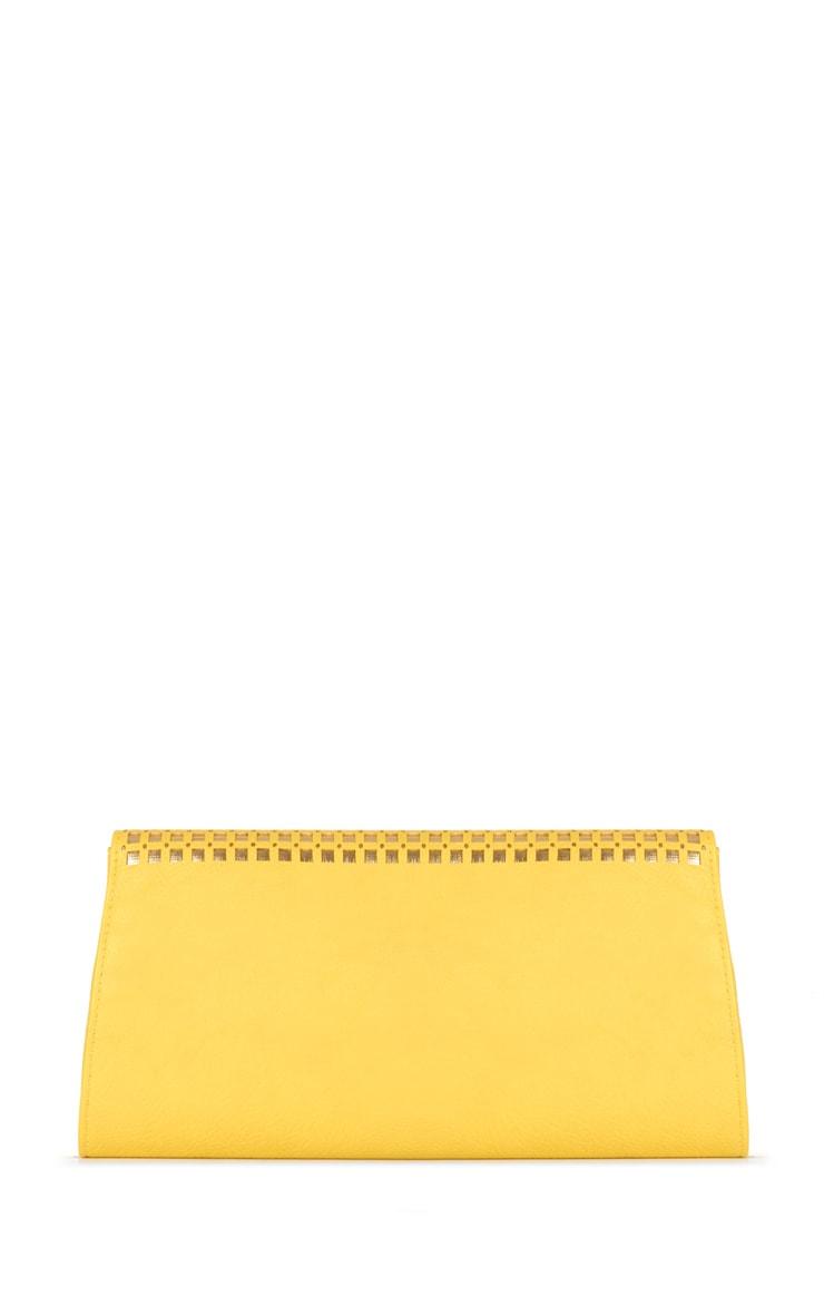 Laila Yellow Leather Clutch with Metallic Lattice  2