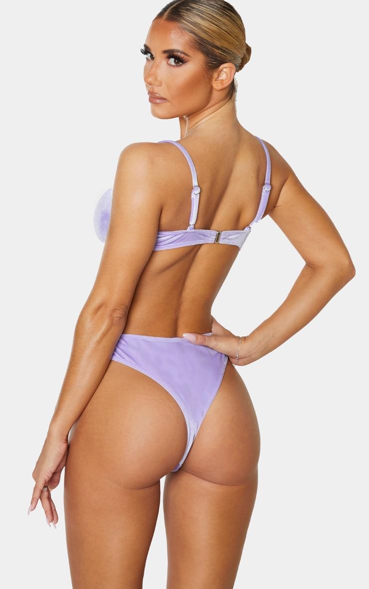 Lilac Velvet Ruched Scoop Bikini Top 2