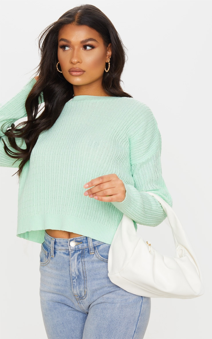 Mint Narrow Cable Knitted Crop Jumper 4