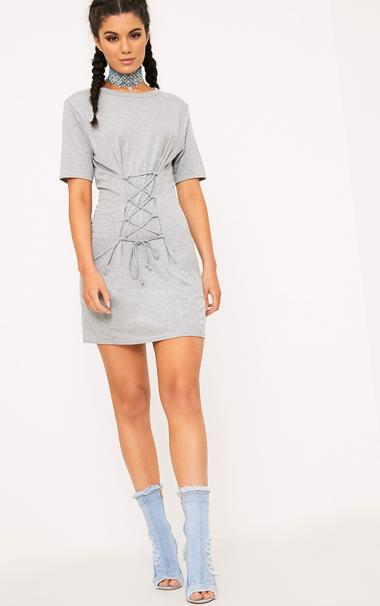 Benayah Grey Jersey Corset Detail T Shirt Dress 4