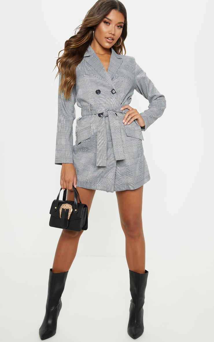 Grey Check Blazer Playsuit 1