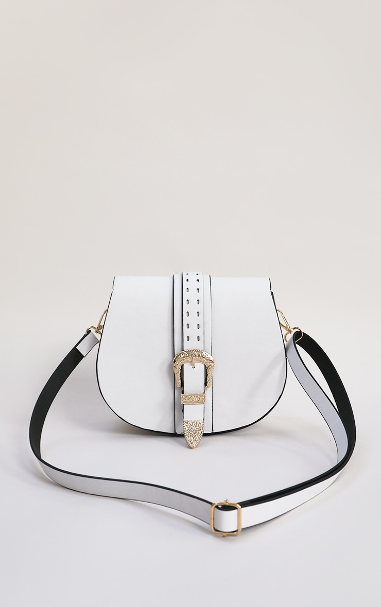 White Western Buckle Saddle Cross Body Bag 1