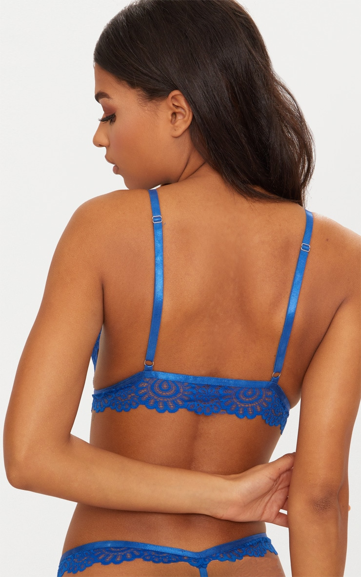 Cobalt Daisy Lace Harness Front Hook Bra 2