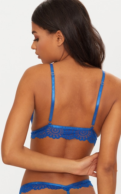 Cobalt Daisy Lace Harness Front Hook Bra