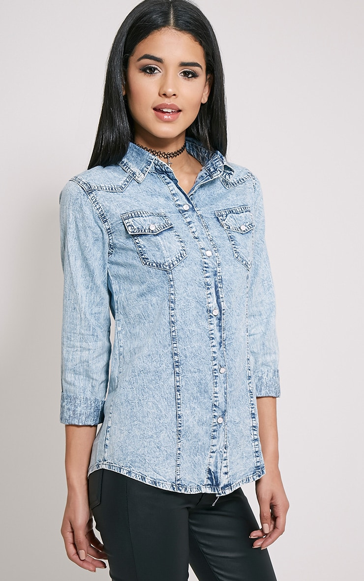 Ina Blue Acid Wash Denim Shirt 4