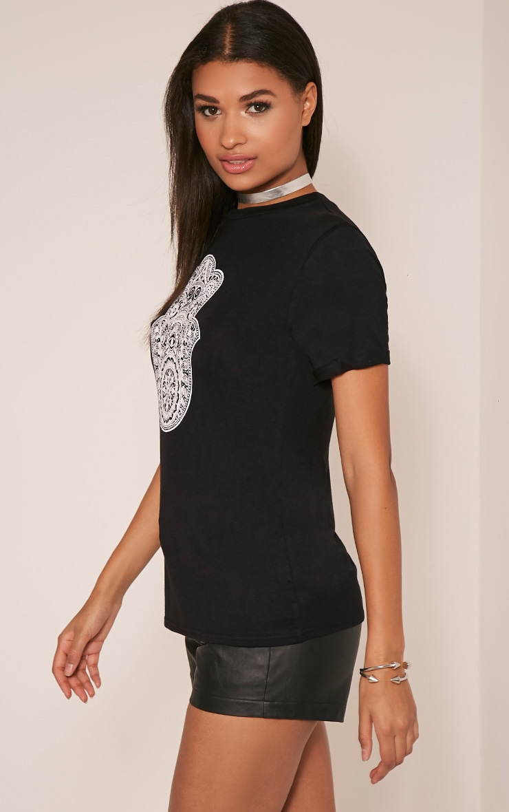 Hamza Print Black T-Shirt 4