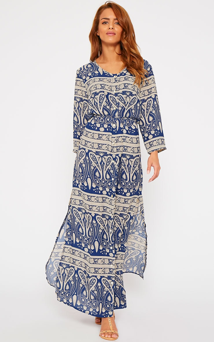Octavia Blue Paisley Print Button Front Maxi Dress 1