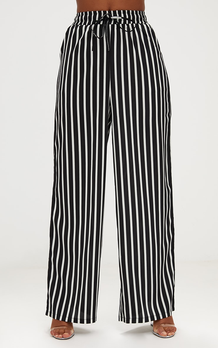 Monochrome Stripe Wide Leg Trousers 2