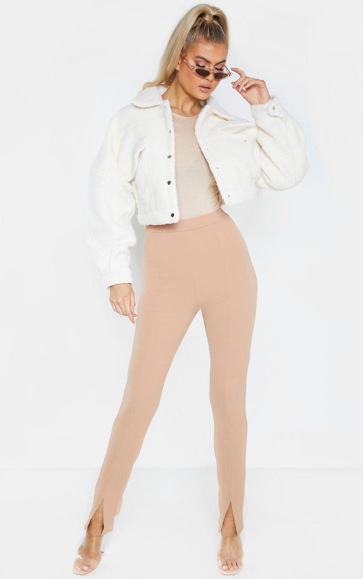 Tall Camel High Waisted Crepe Split Hem Trouser 1