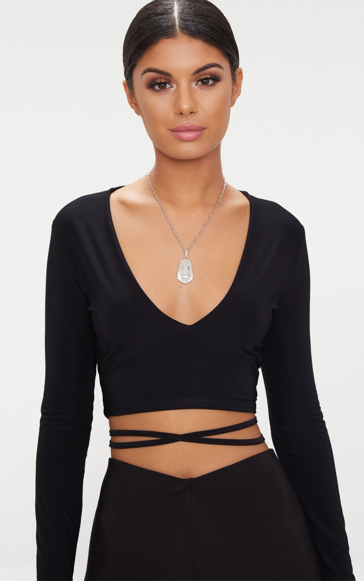 Black Slinky Long Sleeve Tie Waist Crop Top  5