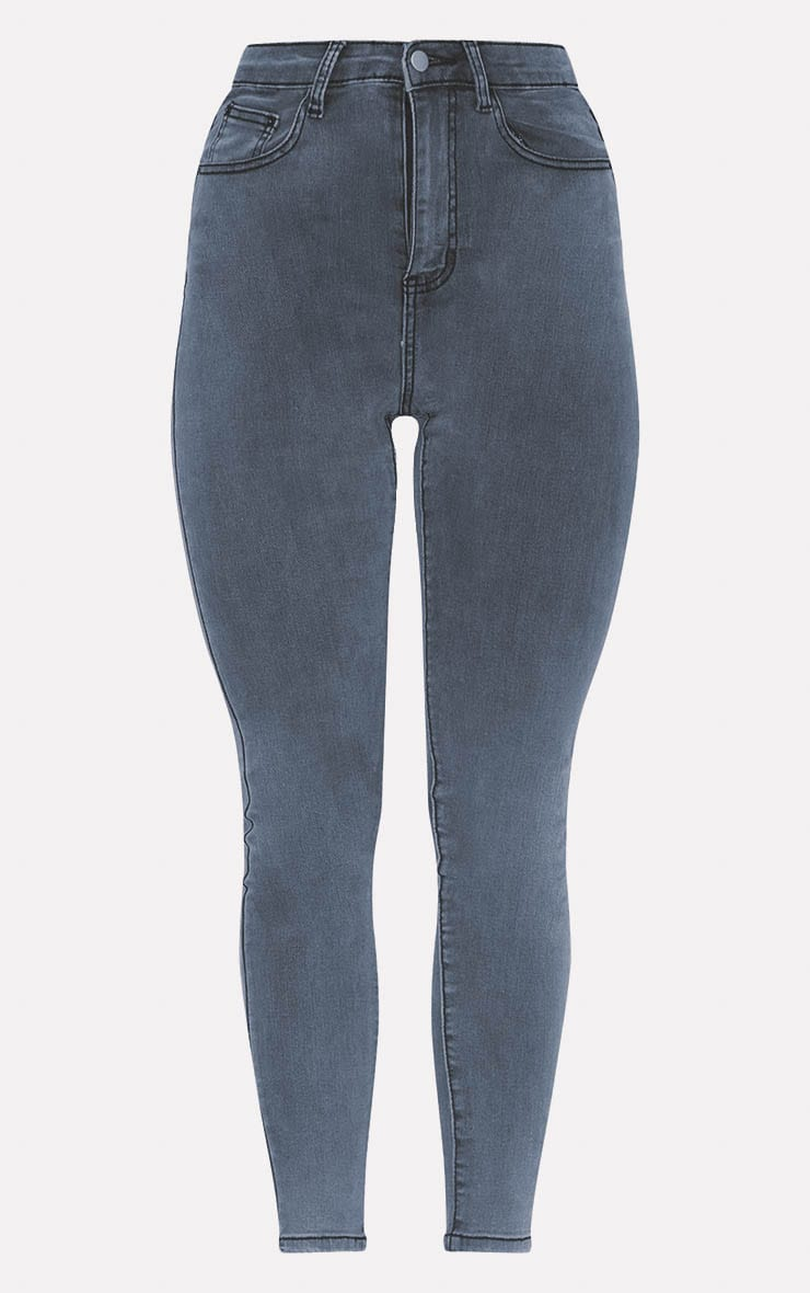 PRETTYLITTLETHING Grey 5 Pocket Skinny Jean 3