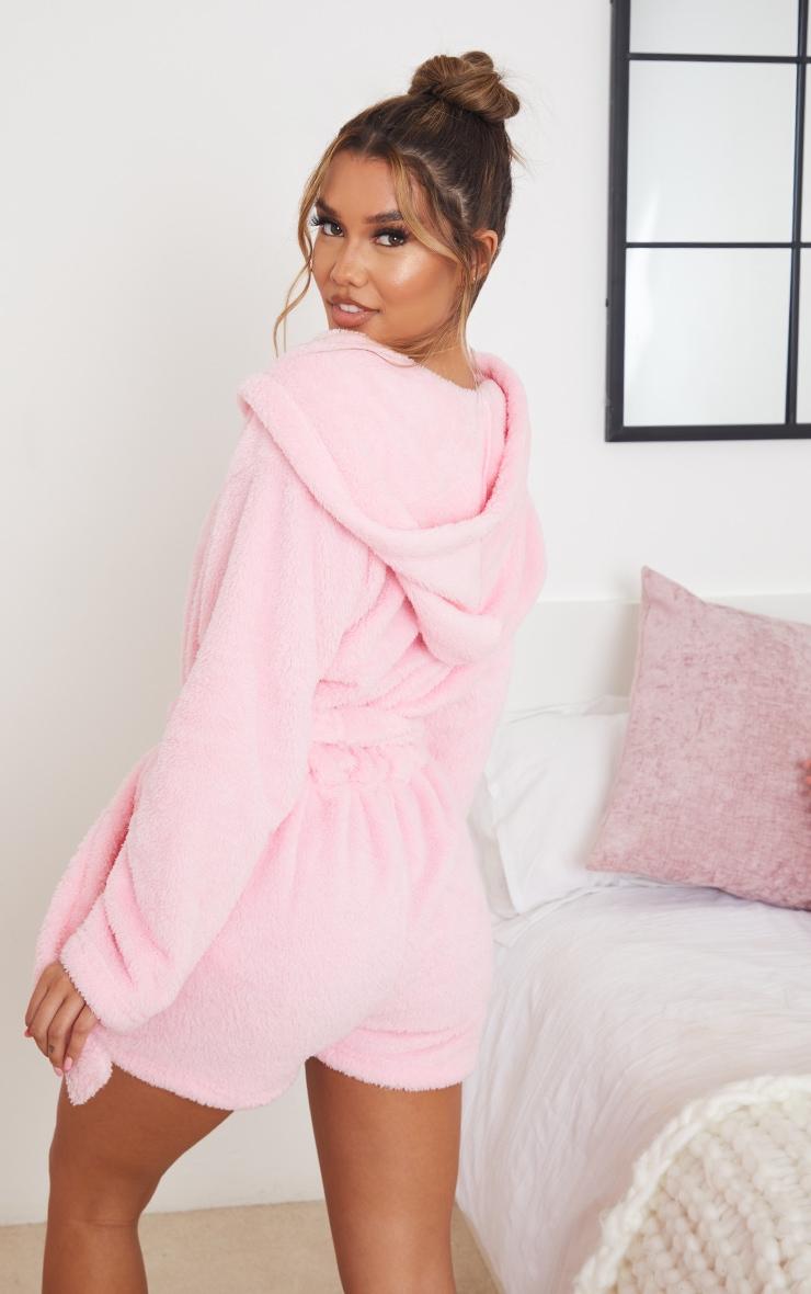 Pink Tie Waist Dressing Gown Romper 2