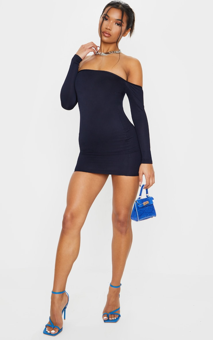 Navy Bardot Bodycon Dress 3