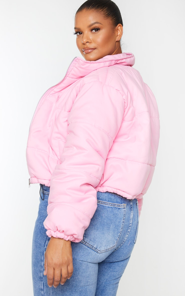 Plus Pink Super Cropped Peach Skin Puffer 2