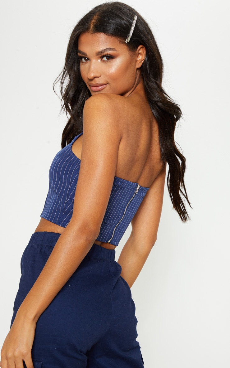 Navy Pinstripe Bandeau Crop Top 2