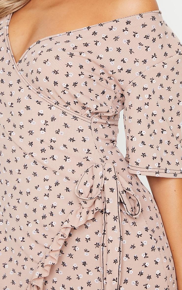 Stone Ditsy Floral Print Rib Wrap Frill Hem Tea Dress 4