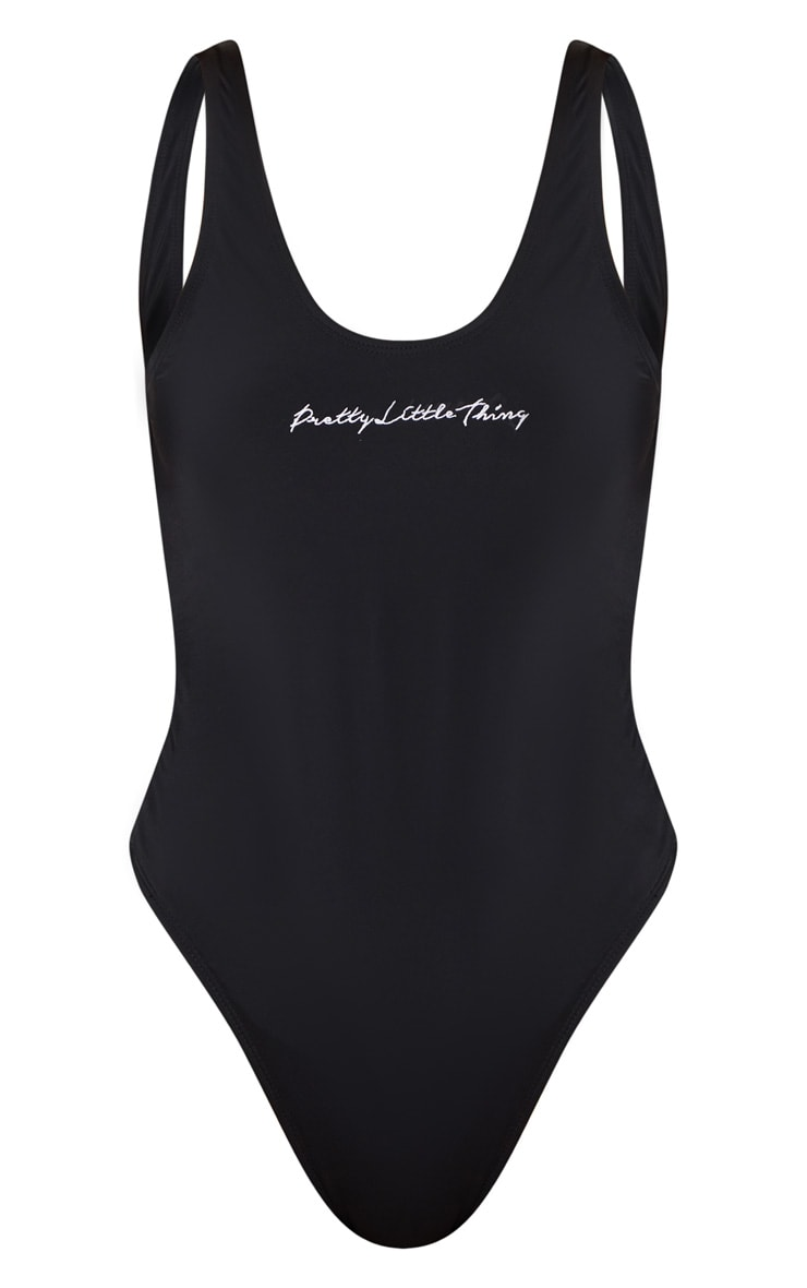 PRETTYLITTLETHING Black Embroidered Swimsuit 3