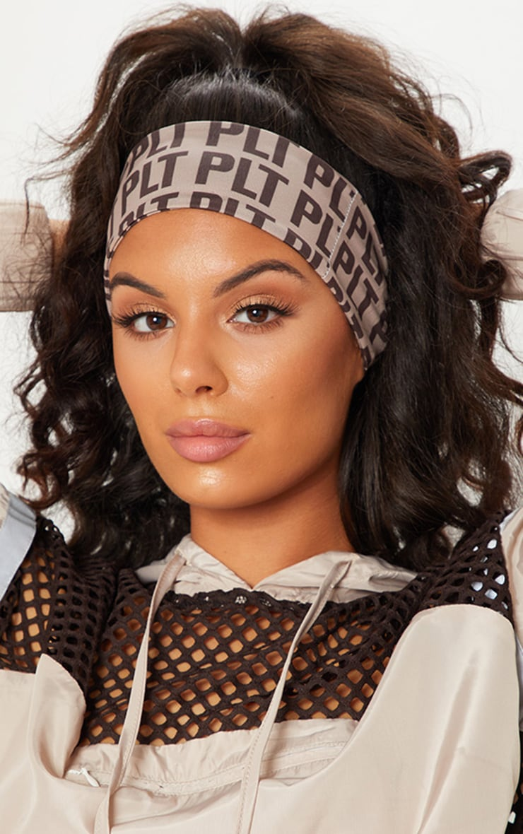 PRETTYLITTLETHING Brown Mono Sweat Band 1
