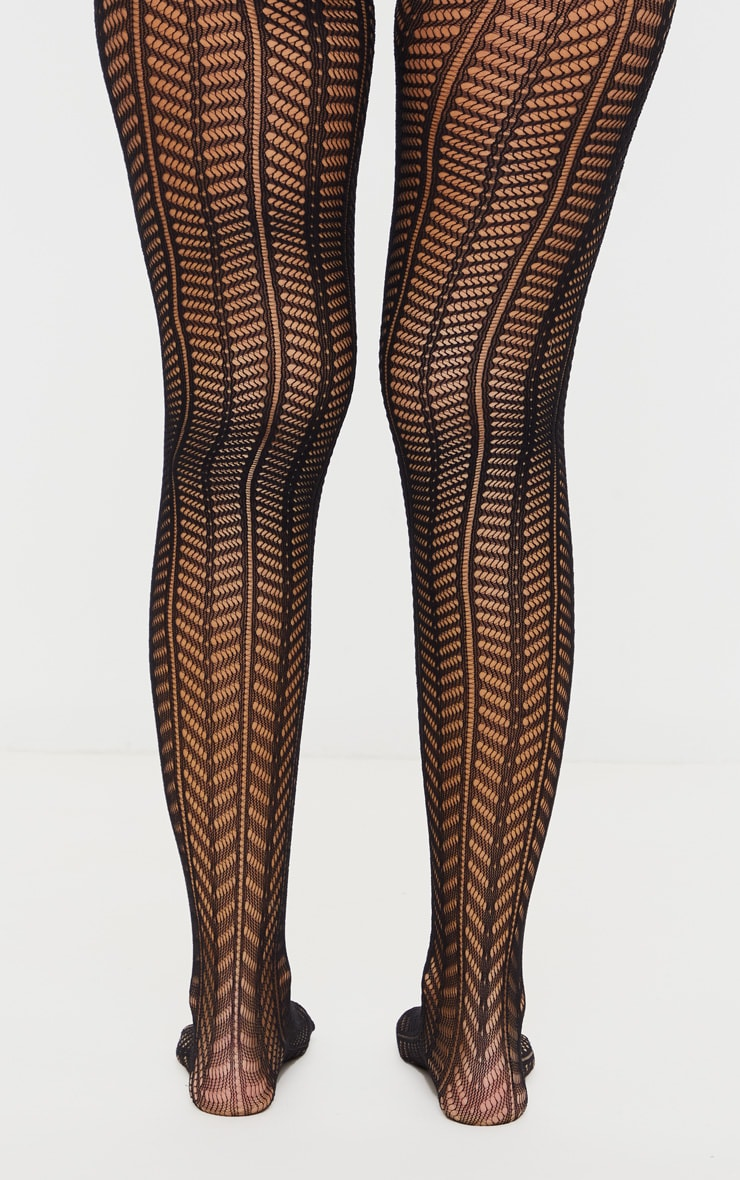 Black Knit Chevron Tights 3