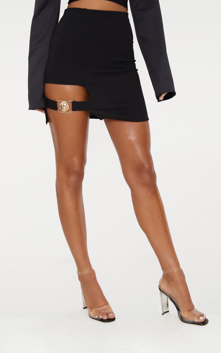Black Lion Head Buckle Detail Mini Skirt 2