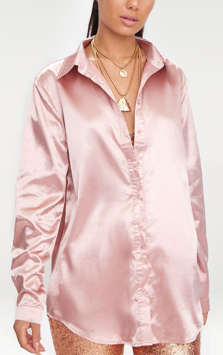 Rose Gold Satin Button Front Shirt  5
