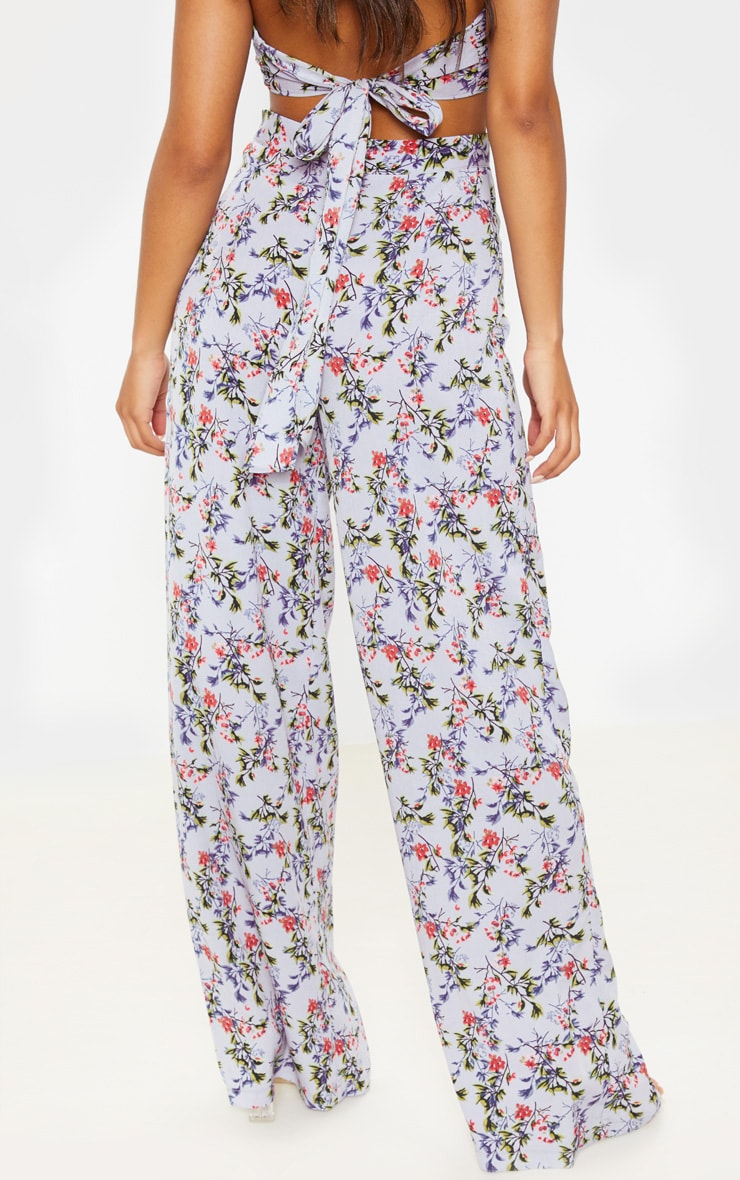 Dusty Blue Floral Print Wide Legged Trouser 4