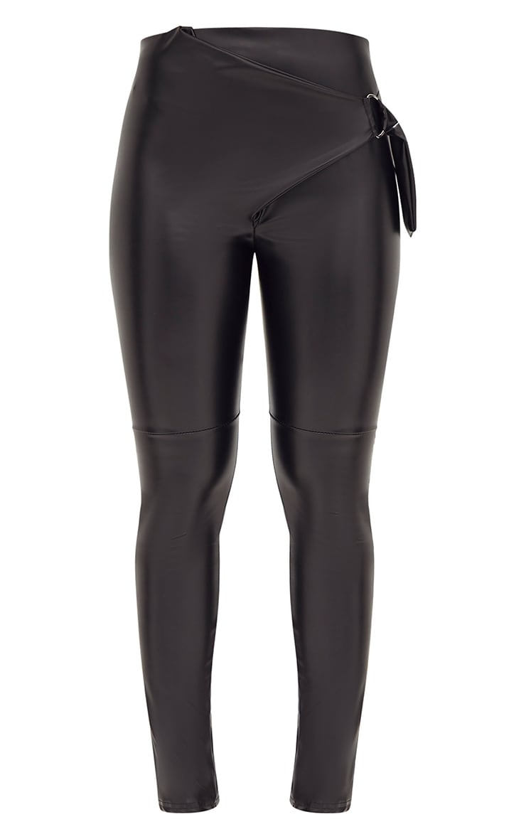 Black Faux Leather D Ring Wrap Trousers 3