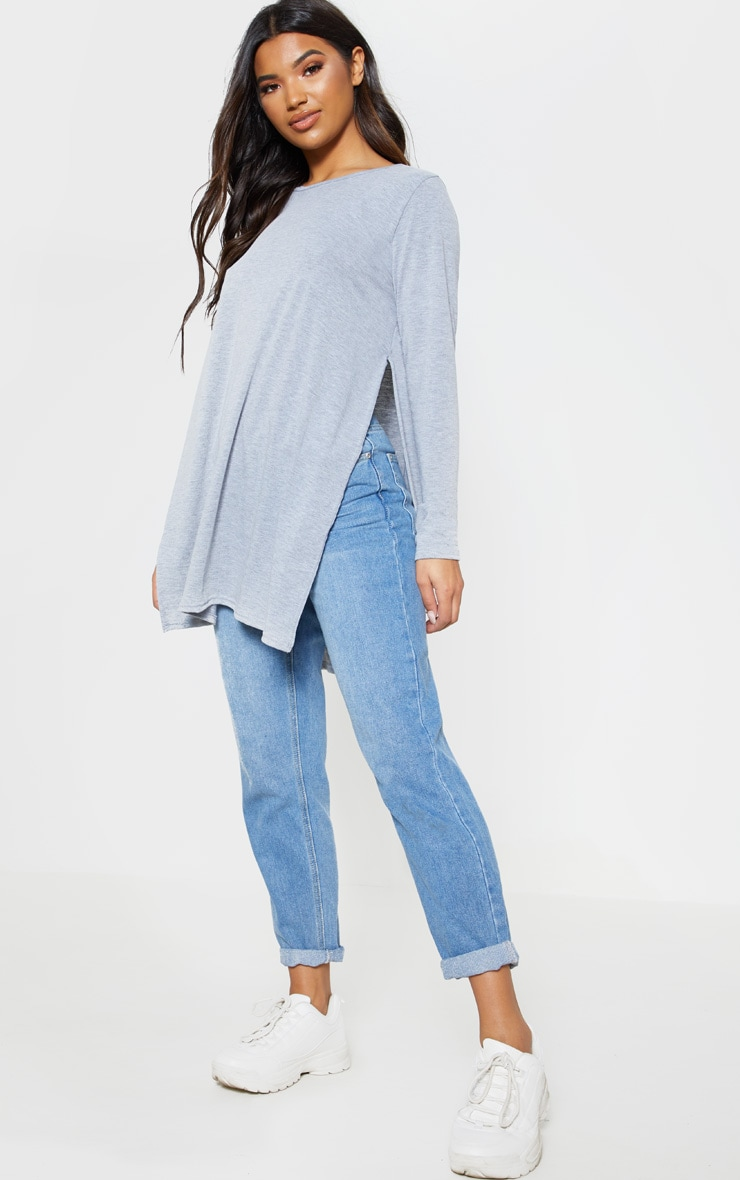 Grey Long Sleeve Side Split Top 1