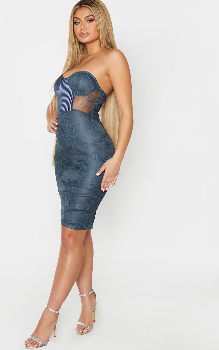 Charcoal Blue Lace Bandeau Velvet Insert Midi Dress 2