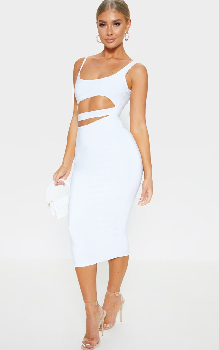 White Slinky Cut Out Detail Midi Dress 1